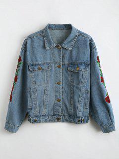 Drop Shoulder Embroidered Denim Jacket - Charm L