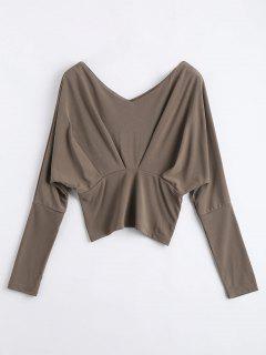 Batwing Sleeve T-shirt - Khaki S