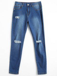 Bleach Wash Skinny Ripped Pencil Jeans - Denim Blue Xs