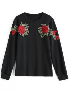 Cotton Floral Embroidered Patched Sweatshirt - Black Xl