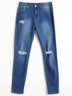 Bleach Wash Skinny Ripped Pencil Jeans - Denim Blue L