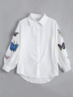 Butterfly Embroidered Casual Puff Sleeve Blouse - White M