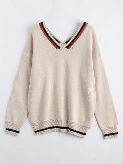 V Neck Striped Drop Shoulder Sweater - Apricot
