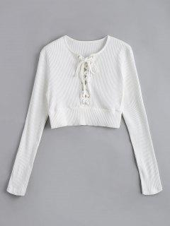 Long  Sleeve Lace Up Crop Sweater - White M