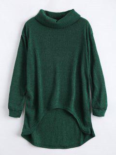 Turtleneck High Low Hem Sweater - Blackish Green Xl