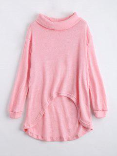 Turtleneck High Low Hem Sweater - Light Pink Xl