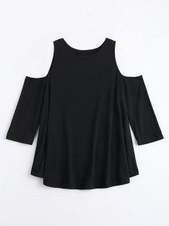 Cold Shoulder Long Tunic Tee - Black Xl