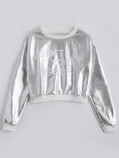 Letter Print Shinny Sweatshirt - Silver