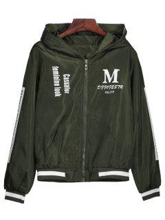 Zip Up Graphic Print Hooded Jacket - Army Green S