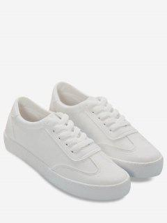 Stitching Faux Leather Athletic Zapatos - Blanco 39