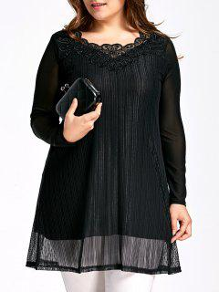 Crochet Panel Plus Size Ribbed Mesh Blouse - Black 5xl