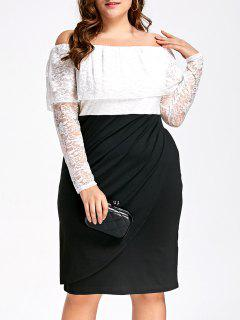 Lace Plus Size Off Shoulder Formal Dress - White And Black Xl
