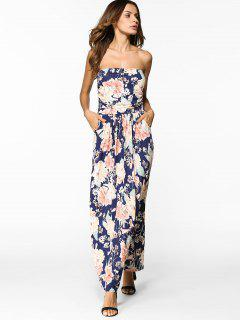 Floral Maxi Bandeau Prom Dress - Floral Xl