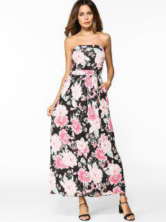 High Waist Floral Maxi Bandeau Dress - Floral Xl