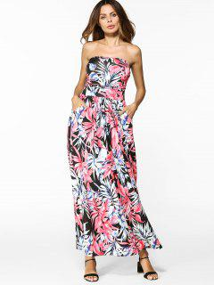 Print Pocket Maxi Bandeau Dress - Floral Xl