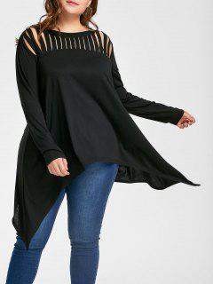 Plus Size Crescent Hem Ripped Top - Black 4xl