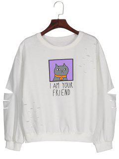 Graphic Cartoon Print Ripped Sweatshirt - White