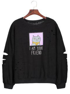 Graphic Cartoon Print Ripped Sweatshirt - Black