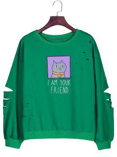Graphic Cartoon Print Ripped Sweatshirt - Green