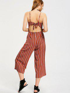 Bowknot Cut Out Stripes Jumpsuit - Stripe M