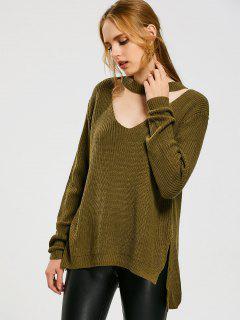 Side Slit High Low Choker Sweater - Army Green