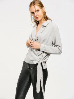Lapel Bow Tied Wrap Blouse - Gray M