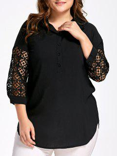 Hollow Out Sleeve Plus Size Half Button Blouse - Black 4xl