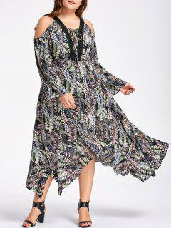 Plus Size Cold Schulter Taschentuch Kleid - Xl