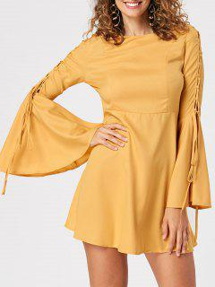 Flare Sleeve Lace Up Robe Patineuse - Jaune M