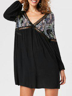 Lantern Sleeve Open Back Mini Dress - Black M