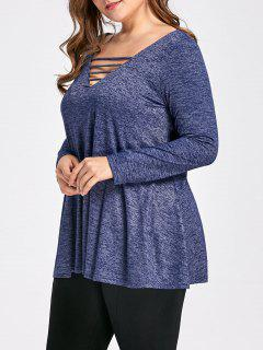 Plus Size Marled Ladder Cutout Top - Deep Blue Xl