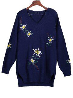 Embroidered Tunic Jumper Sweater - Deep Blue M