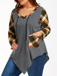 Plus Size Long Sleeve Asymmetrical Tartan T-shirt - Grey And Green 5xl