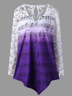 Plus Size Lace Trim Music Notes Top - Dahlia 5xl