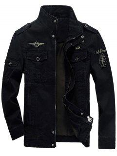 Epaulet Design Zip Up Patch Jacket - Black 3xl