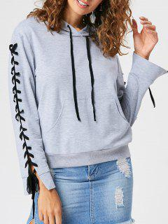 Kangaroo Pocket Lace Up Hoodie - Light Grey 2xl