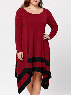 Plus Size Long Sleeve Asymmetric Dress - Black&red 5xl