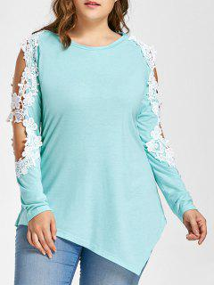Plus Size Lace Panel Cold Shoulder Asymmetrical Tee - Breezy 4xl