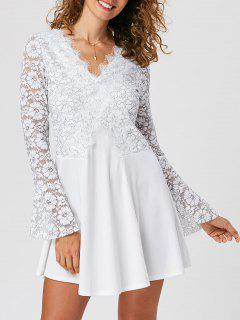 Lace Trim Flare Sleeve Mini Dress - White 2xl