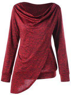 Marled Cowl Neck Overlap Asymmetric Sweatshirt - Red L