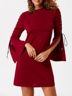 Vestido De Encaje Con Mangas Acanaladas - Vino Rojo L