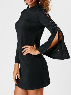 Lace Up Flared Sleeve Sheath Mini Dress - Black S