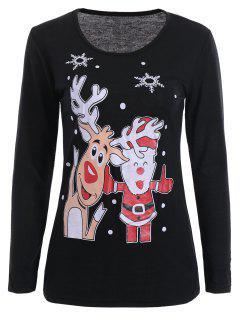Camiseta De La Navidad De La Manga Larga De La Impresiones - Negro M