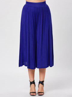 Plus Size High Waist Culotte Pants - Blue 6xl