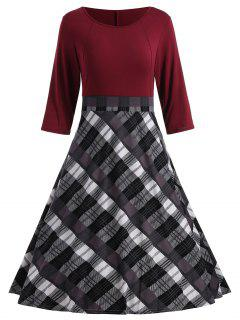 A Line Plaid Robe Longueur Au Genou - Rouge Vineux  Xl