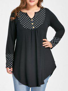 Plus Size Polka Dot Curved Tunic Top - Black 3xl