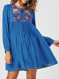 Embroidery Babydoll Dress - Blue Xl