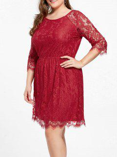 Knee Length Plus Size Lace Formal Dress - Red 2xl