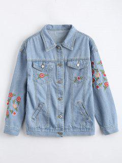 Flower Embroidered Denim Jacket - Charm M