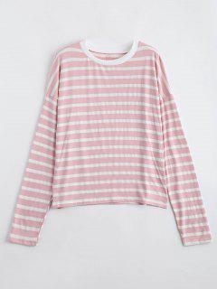 Drop Shoulder Striped Long Sleeve Tee - Shallow Pink L